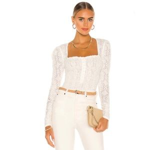 Free People Confection Smocked Top Puffed Sleeve